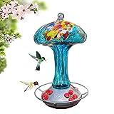 Grateful Gnome - Hummingbird Feeder - Hand Blown Glass - Blue Mushroom - 32 Fluid Ounce Free Bonus Accessories S-Hook, Ant Moat, Brush and Hemp Rope Included