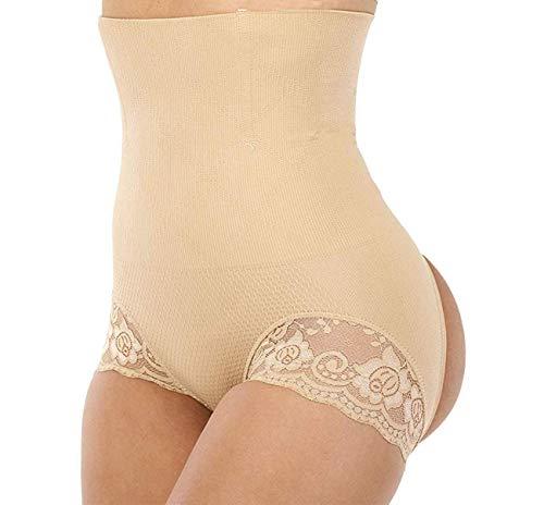 Jason&Helen Women's Butt Lifter Shaper Seamless Tummy Control Hi-Waist Thigh Slimmer Apricot Medium/Large