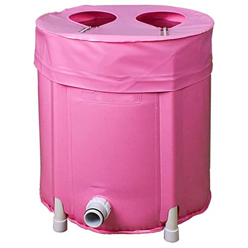 JJSFJH Collapsible Travel Foot Tub,portable Foot Bath Tub Foot Spa Bucket Heat Preservation Relax Soak Bucket For Soaking Foot And Foot Massage-pink 39x33cm(15x13inch)