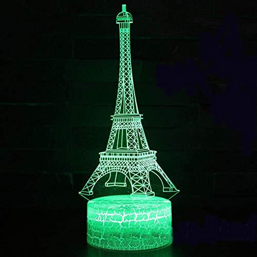 Luz nocturna 3D Torre Eiffel con diseño de Mark 3D, 7 cambios de color, lámpara táctil