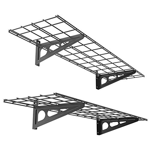 FLEXIMOUNTS X Black 2 Pack Ft Inch 2-Pack 1x4ft 12-inch-by-48-inch Wall Shelf Garage Storage Rack, 1x4, 2 Count