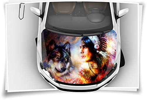 Dreamcatcher Indianer Wolf Motorhaube Auto-Aufkleber Steinschlag-Schutz-Folie Airbrush Tuning Car-Wrapping Luftkanalfolie Digitaldruck Folierung