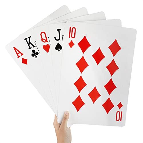 BELLE VOUS Baraja Gigante Jumbo de Plástico 37 x 26 cm – Set Completo Cartas Poker Enormes para Todas Las Edades – Juego Interiores y Exteriores Jardín BBQ Fiesta Casino Familiar