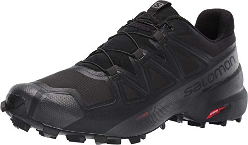 Salomon Men's Speedcross 5 Wide Trail Running, Black/Black/Phantom, 12