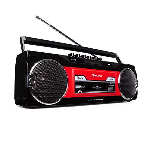 auna Duke - DAB Kassettenrekorder, Bluetooth-Funktion, DAB+/FM-Radio, Direct Encoding von Kassette auf USB/SD, Teleskopantenne, schwarz/rot