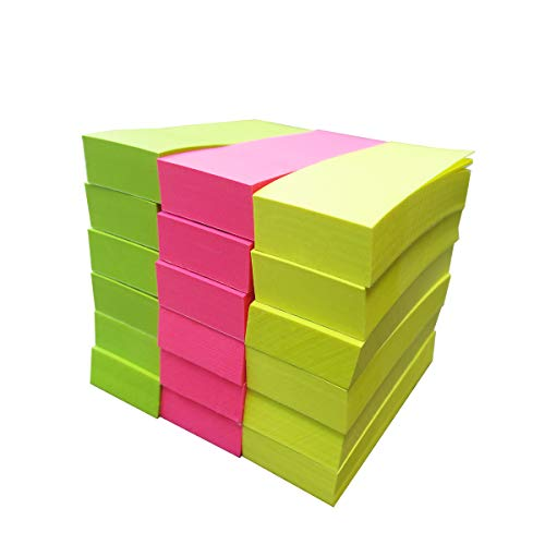 Creatiburg Sticky Paper Tab 1 x 3 inches Small Sticky Notes 18 Pads 100 Sheets/pad Page Marker 3 Bright Colors, Great Office Supplies Gifts