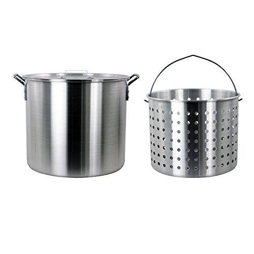 CHARD , Aluminum Stock Pot and Perforated Strainer Basket Set, 42 quart