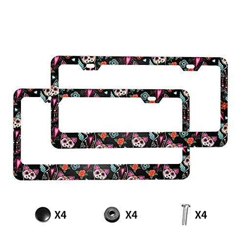 Marco de aluminio para matrícula de coche, 2 unidades, diseño de calavera de azúcar y flores, con tapas de tornillos