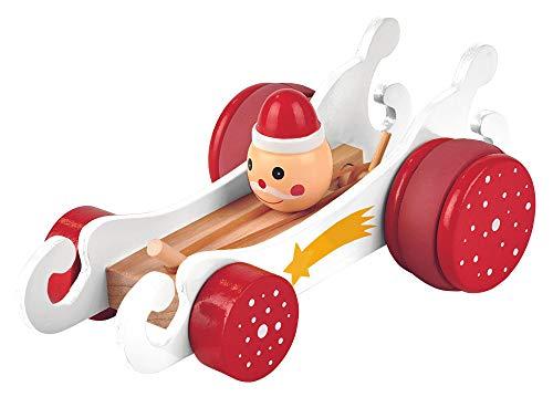 Moses. 16965 Rasender Schlitten mit Gummimotor | Spielzeugklassiker aus Holz | Weihnachten, rot
