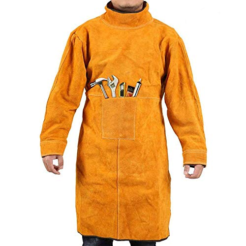 Welding Jacket Leather Apron Heavy-Duty Work Anti-scald Flame Resistant Coat L