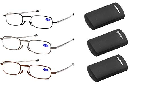 SOOLALA Metal Aolly Frame Folding Magnifying Compact Reading Glasses Reader w/Case, 3Pairs, 2.0D