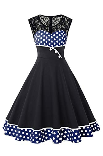MisShow Damen Festliches Karneval Kleider Gepunkt Petticoat Kleid Spitzenkleider Festliches Kleid Blau 3XL