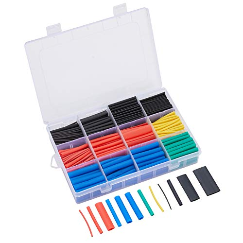 560PCS Heat Shrink Tubing, SYLHsdsnsw 2:1 Dual Wall Adhesive Heat Shrink Tubes Wire Wrap, Waterproof and Insulated Electrical Wire Heat Shrink Tube Kit with Box(5 colors/12 Sizes)