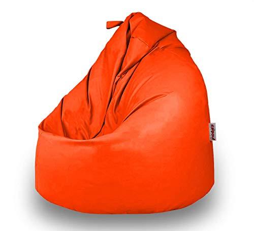 Italpouf Pouf Sacco Ecopelle Grande 90 Ø x 115 cm, Poltrona Sacco Grande Pera, Pouf Sacco Imbottito, Pouf Ecopelle Sfoderabile (Pouf Sacco XL Grande, Arancione)