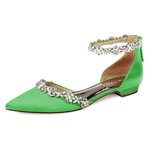 XYD Women Classic Pointed Toe D'Orsay Flat Sandals Rhinestone Ankle Strap Low Heel Dress Shoes with Zippers Size 12 Lime Green