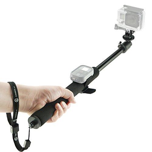 Asta per GoPro Camkix - Asta Telescopica regolabile con cinghie per telecomando Wifi - Si estende da 35 a 102 cm - Sistema 'Ruota e Blocca' Facile da estendere e ritrarre - Montatura per Cavalletto compatibile con GoPro Hero 4, 3+, 3, 2, 1 e altre telecamere - 1 Cinghia per Telecomando Wifi / 1 Cinghia da polso / 1 Cordino inclusi (Nero)