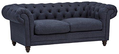 Amazon Brand – Stone & Beam Bradbury Chesterfield Tufted Loveseat Sofa Couch, 78.7'W, Navy