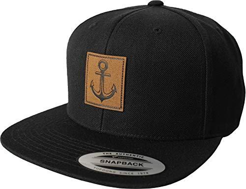 Cap: Anker- Flexfit Snapback basecap mit Leder Patch - Urban Streetwear - Männer Mann Frau-en - Baseball-cap Mütze Kappe Kapitän Seemann - Angler - Hamburg - Basecap - Vintage Retro (Schwarz)