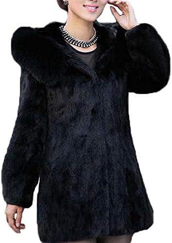 Huaishu Manteau de Fourrure d'hiver pour Femmes Solide Simple à Capuche à Manches Longues Longue Veste en Fausse Fourrure