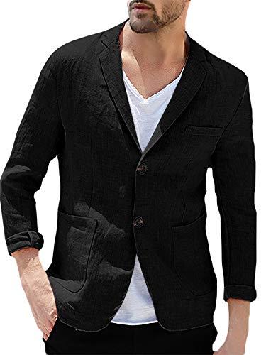 Taoliyuan Blazer masculino de linho casual jaqueta esportiva ajustada slim fit leve meia forrada versátil terno jaqueta, Two Buttons-black, XX-Large