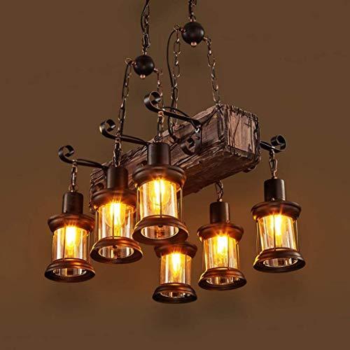 YUEXIN Retro Vintage Wooden Pendant Lamp,Industrial Chandelier Rustic Wood Hanging Light, Wood Beam Large Linear Island Pendant Lights,6-Heads Lighting Pendant Light, for Indoor House