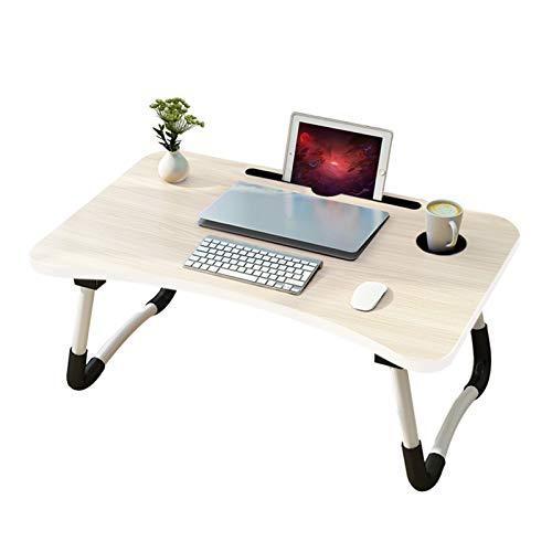 arvioo Mesa para portátil Mesa portátil Cama para Mesa Lapdesks para portátiles Altura Plegable 60 x40x 28 cm(Ranura y portavasos)