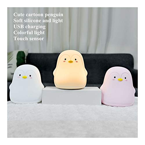 ZSHW -Silicone Penguin LED Night Light Touch Sensor Colorful USB Rechargeable Night Lamp for Children Kids Baby Bedroom Bedside Gift DIY (Color : Pink, Size : A)