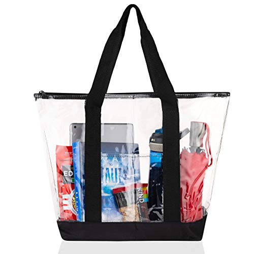 Bags for Less Large Clear Vinyl Tote Bags Shoulder Handbag (Black)
