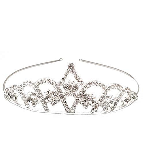 Lurrose Coronas plateadas simples de la tiara del Rhinestone para las mujeres que casan la joyera del pelo (X1533)