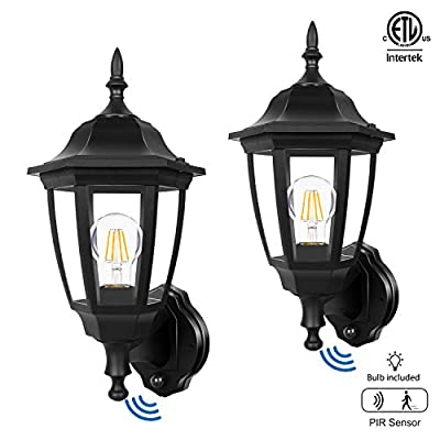 FUDESY 2-Pack Motion Sensor Outdoor Wall Lanterns,Corded-Electric Plastic Security Lights with 120° Wide Angle,Waterproof IP44,Smart LED Porch Light Fixtures for Garage,Yard,Front Door,FDS2542EPIRB2