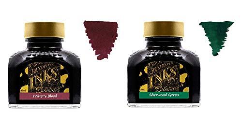Diamine Tinta de Pluma Estilográfica 80ml - 2 x Botellas - Writers Blood & Sherwood Green