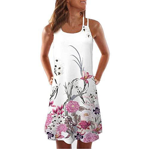 OSYARD Damen A-Linie Kleid Beachwear Sommerkleider Strandkleider Vestkleid, Frauen Boho Stil Kurz Kleider Ärmellos Minikleid Retro Blumendrucken Mini Dress