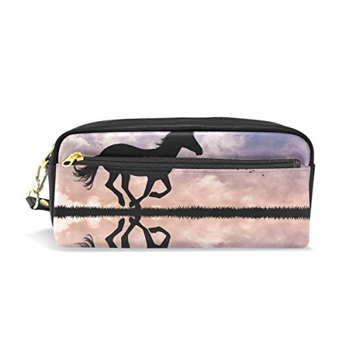 TIZORAX - Estuche de piel sintética para lápices de caballo con silueta al sol para estudiantes, estuche para bolígrafos, maquillaje, cosméticos