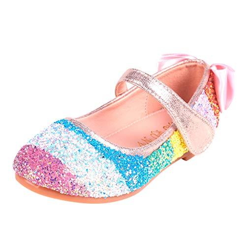 Cuteelf Mädchen Sandalen Frozen Schuhe Prinzessin Sandalen Absatz-Schuhe Oxford Sohlen Sandalette mit Glitzerpailletten Mädchen Prinzessin Sandalen mit Absatz Party