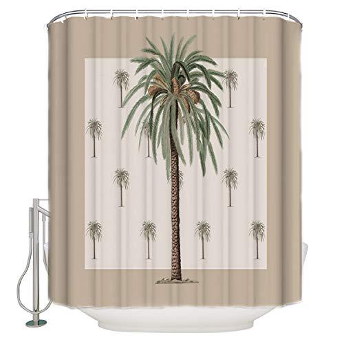 "ZOE GARDEN Shower Curtain Set with Hook 48"" x 72"", Tropical Plants in Summer Beach Palm Trees | Bathroom Decor Waterproof Polyester Fabric Bathroom Accessories Bath Curtain"