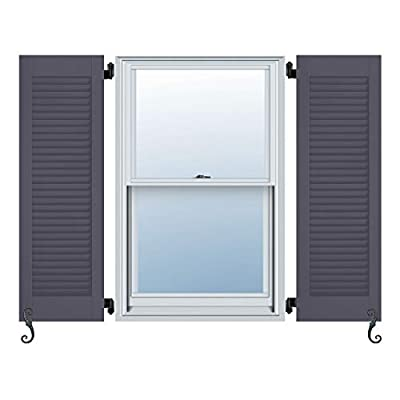 """Atlantic Architectural All Louver, Louver Colonial Shutters (Per Pair), 13""""W X 52""""H, Roycraft Pewter"""