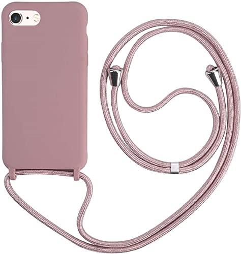 Hykjt Cover Compatible con iPhone 6 7 8 Plus(5.5 ),Cordino Custodia Collana Necklace Cover Corda Case TPU Silicone Liquido Antiurto Cellulare Shell Bumper-Rosa Oro