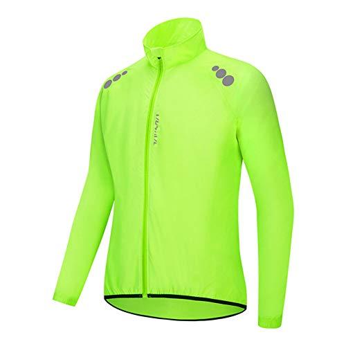 Chaqueta Impermeable de Ciclismo Hombre Chaleco Resistente Al Viento Abrigo Agua Ropa Deportiva Transpirable para Exteriores Protección UV (Yellow,XXL)