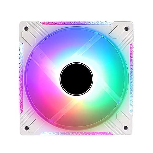 lingyun Controlador PWM analógico/sincronizado de Placa Base RGB de 12 V de acrílico de Marco Completo, 20 + 8 LED direccionables, cojinete hidráulico de 120 mm, Carcasa Blanca/Ventilador de radiador