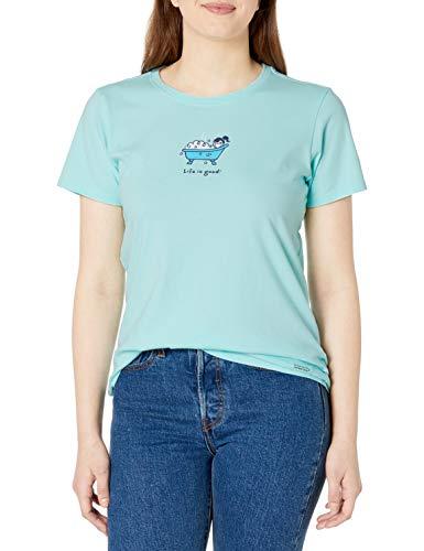 Life Is Good Damen Crusher T-Shirt Vintage Jackie, Damen Unisex-Erwachsene, Vintage Crusher T-Shirt Bubble Bath, Bubble Bermuda Blau, X-Small