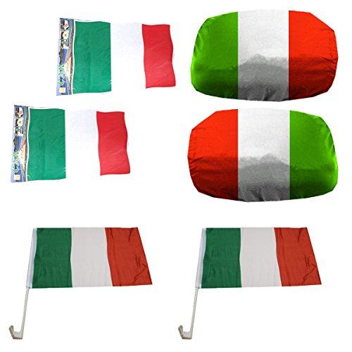 Sonia Originelli Fan-Paket-3-XXL Auto WM Länder Fußball Flaggen Außenspiegel Sticker Farbe Italien