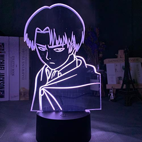 Captain Levi Ackerman Figure Led Night Light for Kids Child Bedroom Decor Nightlight Colorful Table Lamp Attack on Titan Gift