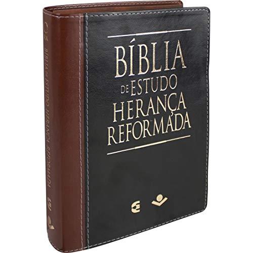 Bíblia de Estudo Herança Reformada - Couro sintético Preto e marrom: Almeida Revista e Atualizada (ARA)