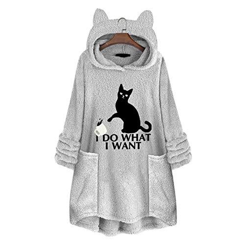 YJYQ Sweatershirt para Mujer Cat Ear Hooded Pullover Fleece Tops,Manga Larga, Forro Polar De Doble Cara, Tamaño Medio, Talla Grande, para Mujer, Se Puede Usar como Ropa para El Hogar