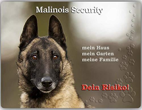 Merchandise for Fans Warnschild - Schild aus Aluminium - Motiv: Malinois/Belgischer Schäferhund Security (01) - Größe: 30x20cm (01)