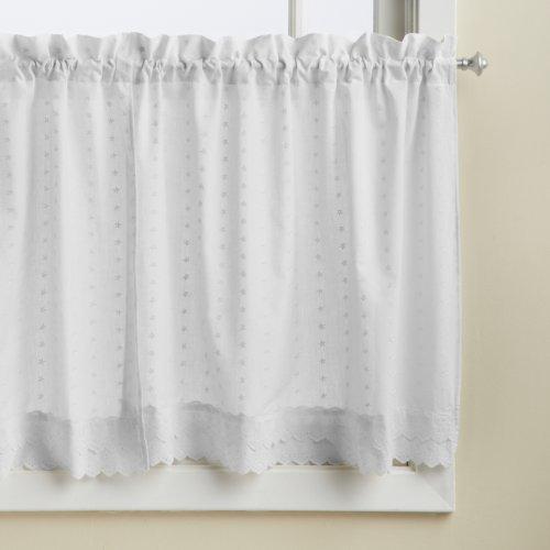 Lorraine Home Fashions Cenefa con Cinta para la Varilla, Blanco, Tier 60' x 24', 1