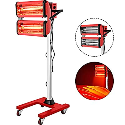 Bestauto 2000W Baking Infrared Paint Curing Lamp 2 x 1000W Shortwave Auto Body Repair Heater Lamp Short Wave Infrared Heater Car Bodywork Repair Paint Dryer With Stand