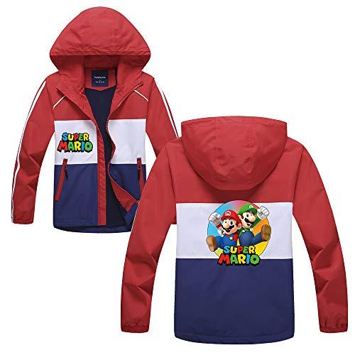 HEAIMONLA Super Mario Pullover Klassischer populärer beiläufiger mit Kapuze Jacke Karikatur Gedruckter mit Kapuze behalten warme wattierte Jacke Jungen und Mädchen (Color : Red05, Size : 120)