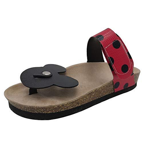 Luis Vuis Women Mickey Mouse Dote Flip Flops Comfort Flat Sandals Seihong Size 43 Asian Black-red