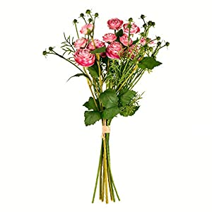 Vickerman Mini Ranunculus Spray 1 Artificial-Flowers, 17″, Pink